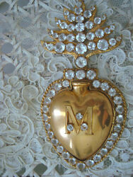 Rare French Antique Authentic Ex Voto Sacred Heart Jeweled Clear Stones Sale