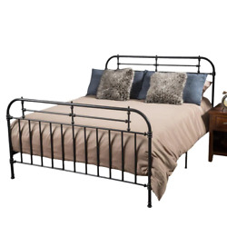 Charcoal Gray Iron Queen Victorian Bed Frame