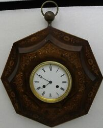 19th Century French Marquetry Inlaid Rosewood Wall Clock Robin Paris Movement