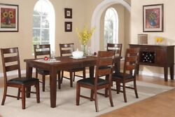 Antique Walnut Wood 7pc Dining Table W Leaf Chocolate Faux Leather Side Chairs