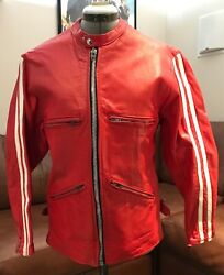 Vintage Tt Uk 1960's Cafe Racer Leather Motorcycle Jacket Red/white 36 Chest
