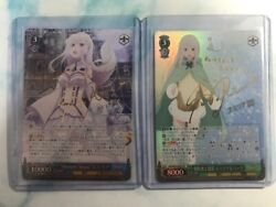 Weiss Schwarz Emilia, 2 Sp Foil Cards With Sign, Japanese Version, F/s To Us