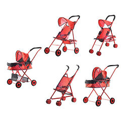 Baby Doll Stroller With Hood Pretend Play Simulation Pushchair Push Cart Toy