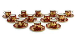 12 Wedgwood England Porcelain Demitasse Cup And Saucers In Tonquin Ruby, C1950