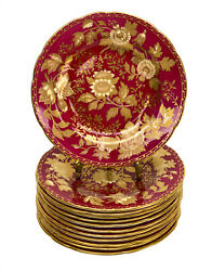 12 Wedgwood England Porcelain Bread And Butter Plates In Tonquin Ruby Circa 1930