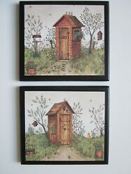 Outhouse His Hers Set Wall Decor Pictures Country Bathroom Primitive Bath Rustic