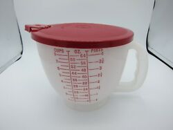 1977 Tupperware Mix N Store 500-3 Plastic 8 Cup 2 Qt Measuring Bowl And Red Lid