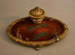 Antique Inkwell French Bronze W Japanese Coromandel Part And Chinese Porcelain Cup