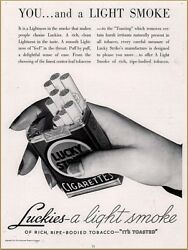 1936 Lucky Strike Cigarette Print Ad Hand With Pack