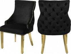 6pc Black Velvet Side Chairs Dining Room Furniture Gold Nail Heads Button Tufted