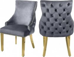 6pc Gray Velvet Side Chairs Dining Room Furniture Gold Nail Heads Button Tufted