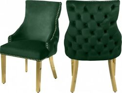 6pc Green Velvet Side Chairs Dining Room Furniture Gold Nail Heads Button Tufted