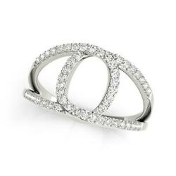 14k White Gold Diamond Loop Style Dual Band Ring 1/2 Cttw