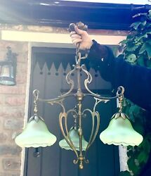 Arts And Crafts Art Nouveau Large Chandelier Ceiling Light In Brass