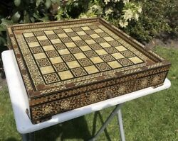 Antique Rare Mother Of Pearl Inlay Wooden Chess Backgammon Board With Draws