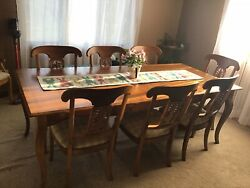 Ethan Allen Legacy Country French Maple Dining Table And 8 Pineapple Chairs