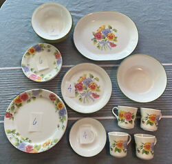 32pc Discontinued Vintage Corelle Summer Blush Dinnerware Plate And Serving Set