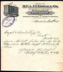 1886 Atlanta Ga - M C And J F Kiser And Co - Boots Shoes Hats Notions - Letter Head