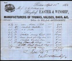 1866 Suitcases Trunks - Boston Ma - Easter And Winship - Valises Bags Letter Head