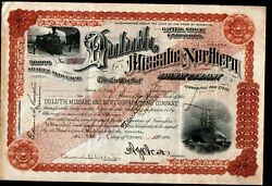 1903 Duluth Missabe And Northern Railway Minnesota Rare Issued Stock Certificate