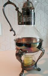 I S Co. Silver Plate And Glass Coffee/tea Carafe Pitcher W Footed Warmer Stand Vtg