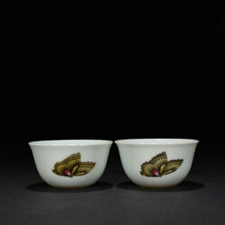 3.2china Qing Dynasty Porcelain Yongzheng Mark Pair Famille Rose Butterfly Cups