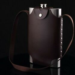 64oz Stainless Steel Hip Flask Liquor Whiskey Alcohol Bottle+leather Cover