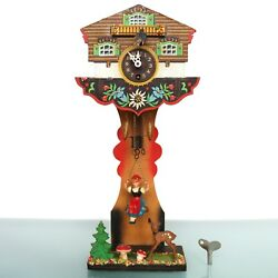 Black Forest German Mantel Wall Clock Double Animated Swinging Wind Up Vintage