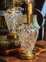 Waterford Crystal Lamps Pair Avery Pattern Dresser Accent Brass Signed Exc Cond