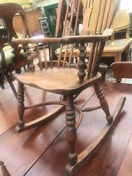 Antique Country Elm Seated Windsor Rocking Chair