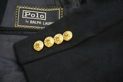 Polo By Flannel Brass Button Thick Vintage Sport Coat Blazer Sz 38s