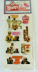 Vintage Wendy's Puffy Stickers Clara Peller Where's The Beef Promotion 1339