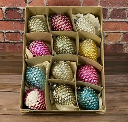 Vintage Japan Pinecone Frosted Ornaments Christmas Decor 12