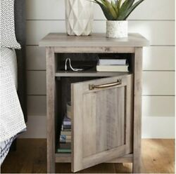 Rustic Wood Nightstand Gray End Table Cabinet Farmhouse Side Accent W Usb Ports