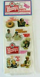 Vintage Wendy's Puffy Stickers Clara Peller Where's The Beef Hot Stuffed 1337