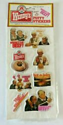Vintage Wendy's Puffy Stickers Clara Peller Where's The Beef Hot Stuffed 1335