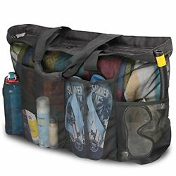XL Mesh Beach Bags and TotesExtra Large Beach Bag with Zipper and PocketsOver... $27.99