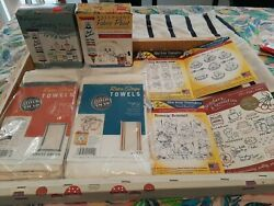 Lot Of Embroidery Iron On Transfers 6 Towel Blanks And 2 Boxes Ballpoint Paint