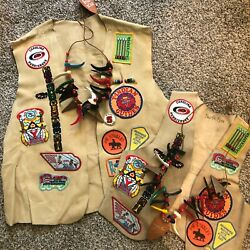 Indian Guides Y Guides Leather Vests W/patches And Bear Claw Necklaces Father Son