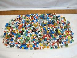 Large 400 + Estate Lot Marbles Shooter Ox Blood Aggie Swirl Agate Shooter Clay
