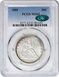 1889 Liberty Seated Silver Half Dollar Ms63 Pcgs Cac