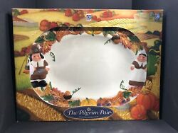 Thanksgiving The Pilgrim Pair Collectable Serving Platter Lg Hand Wash Only 18l