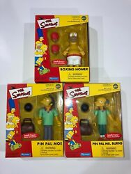 Nos New Simpsons Playmates Toyfare Exclusive Lot 3 Homer Pin Pal Moe Mr Burns