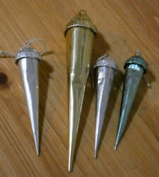 Vintage Christmas Foiled Cardboard Icicle Candy Container Ornament Lot
