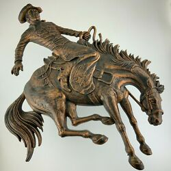 1974 Rodeo Cowboy Bucking Horse Wall Hanging Plastic Plaque Decoration W613