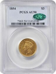 1854 3 Gold Indian Princess Pcgs Au 50 First Year Of Issue Cac