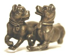 1800and039s Playing Dogs With Collar Bronze Antique Meriden B. Co.
