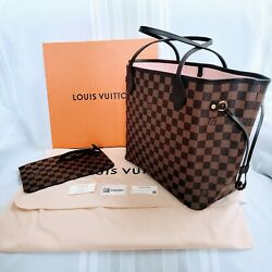 Rare Louis Vuitton Neverfull Mm Damier W/ Rose Pink Lining And Pouch Sold Out