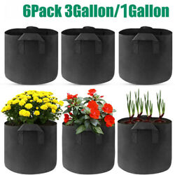 6X Grow Bags Plant Fabric Pot Nursery Soil Bag with Handles Thickened Nonwoven
