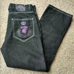 Coogi Mens Jeans 36x34 Black Relaxed Fit Baggy Embroidered Purple Royal Crown